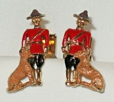Vintage Cuff Links Royal Canadian MOUNTIES Mountie Police DOGS CUFFLINKS Rare