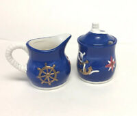 Vintage Geo Z Lefton By The Sea Nautical Creamer Pitcher and Sugar Bowl 1998