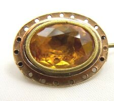 Foil Back Paste Dome Back Brooch circa 1700 Antique Georgian 15 + 18 ct Gold and