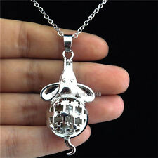 K115 Silver Pearl Cage Mouse Rats Magnetic Locket Necklace Steel Chain 18inch