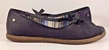 Ugg Black Canvas Peep Toe Espadrilles Bow Flats Womens Size US 6,5M