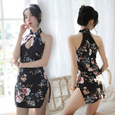 Sexy Women Floral Printed Cheongsam Qipao Lingerie Mini Dress Set Fancy Clubwear