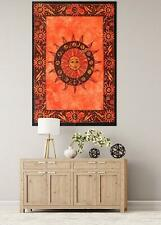 Sun Moon Wall Hanging Beautiful Design Cotton Orange Color Tapestry Poster Art