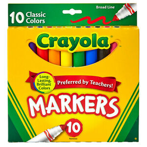 Crayola Classic Colors Broad Line 10 Markers Brand New