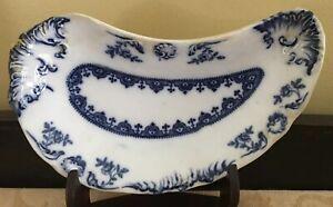 Antique Meakin Flow Blue ACANTHA Bone Dish Hanley England