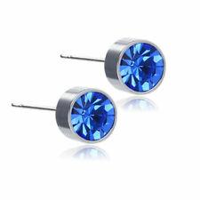 6mm Crystal Stud Earrings Silver Blue Stone Anti Allergic Stud Earrings Pair