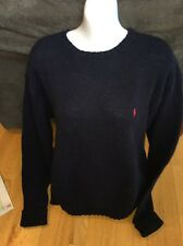 Men's Blue Ralph Lauren Polo Crew Neck Sweater Blue With Red Pony Large L L/S