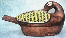 Novica Hand Carved Wood Beaded Duck Box, Tribal Art Ghana West Africa