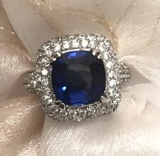 GORGEOUS 5 CT NAVY BLUE SAPPHIRE & WHITE TOPAZ 925 STERLING SILVER COCKTAIL RING
