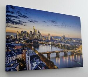 Frankfurt Skyline Abend Stadt Leinwand Bild Wandbild Kunstdruck L1357
