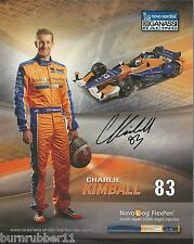 "SIGNED 2015 CHARLIE KIMBALL ""NOVOLOG FLEX PEN 2ND VERSION"" #83 INDY CAR POSTCARD"