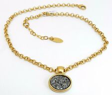 Exclusive Gold 24K Plated Necklace Set Spark Oval Gray Druzy Agate Stone Pendant