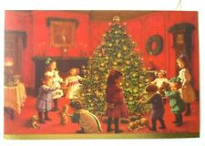 Unused Christmas Card Kathy Lawrence Victorian Kids Around the Tree w Puppies