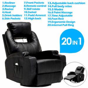 Massage Recliner Chair Swivel & Heated Leather Sofa w/8 Vibration Motors Black