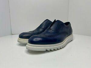 Salvatore Ferragamo - Carl Brogue Blue Leather Slip-On Size 9 Dress Shoes $695
