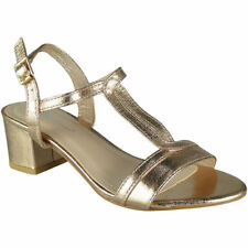 Womens Mid Heel Shoes Ladies T-bar Ankle Strap Buckle Work Party Sandals Size UK 5 / EU 38 / US 7 Gold