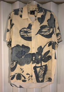 Jams World Yellow/Gray Flowers In Vases Hawaiian Shirt~S EUC Made In Hawaii