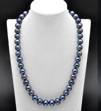 AAA+ Perfect 10-11mm Genuine Black Freshwater Cultured Pearl Necklace 18''