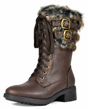 DREAM PAIRS Women's New Military Combat Mid Calf Riding Work Winter Boots