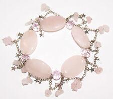 Rose Quartz Gemstone Charm Bead Bracelet