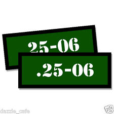 25-06  Ammo Can Stickers 2x Ammunition Case Labels GREEN Decals 2 pack