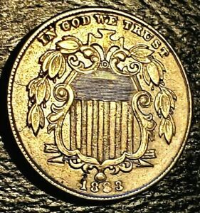 1883 Shield Nickel // $0.05 // Almost Uncirculated // KM# 97 // Excellent!