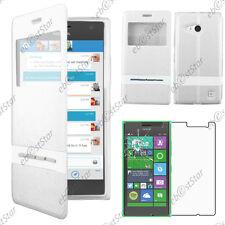 Housse Coque Etui S-View Flip Cover Blanc Nokia Lumia 735 730 dual + Verre
