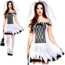 Sexy Teen Bride Halloween Fancy Dress Costume Womens Ladies Horror Zombie Adult