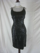 Vtg 50s 60s Black Womens Vintage BOMBSHELL Sequin Cocktail Party Dress W 30
