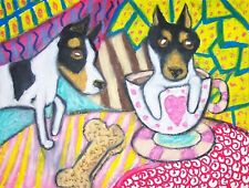 Toy Fox Terrier Drinking Coffee Dog Collectible 8 x 10 Signed Art Giclee Print