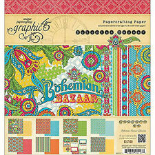 Bloc Graphic 45 BOHEMIAN BAZAAR 20 x 20 cm lot de 24 papiers scrapbooking