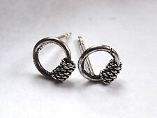 Very Small Bali on Ring Stud Earrings 925 Sterling Silver Corona Sun Jewelry