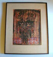 1960s Mid Century Modern Painting KING DAVID HEBREW BIBLE Jewish Judaica SIGNED