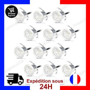 12X Spots LED Encastrable Exterieur IP67 a Encastrer Blanc 0,6W Escalier