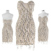 New Ladies Formal Wedding Sequined Tassel Cocktail Evening Prom Party Mini Dress