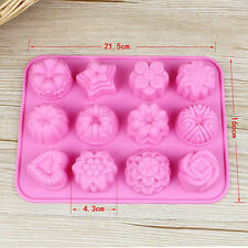 Flower 12 Cup Silicone Cake Mold Muffin Tray Chocolate Mould Cupcake Baking Tool