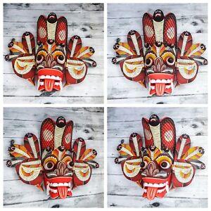 "Hand Carved Wood Wall Art Decor Devil Cobra Sri Lankan Mask Art Sculpture 8"""