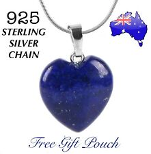 Lapis Lazuli Natural Stone Love Heart Pendant 925 Sterling Silver Necklace Gift