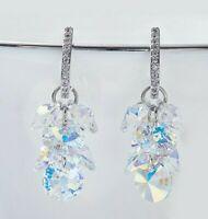 Aurora Borealis 18K White Gold Plated Swarovski Crystal Stone Drop Earring ITALY