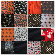 Halloween Fabric Per Metre Orange Black Satin Spiders Bats Pumpkin Skulls Spooky
