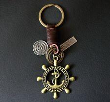 AuPra Ship Anchor Keyring  | Leather Sailor Fishermen Keychain | Key Ring Gifts