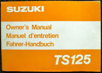 SUZUKI 1980 TS125 MOTORCYCLE OWNER'S MANUAL #99011-48020-28C