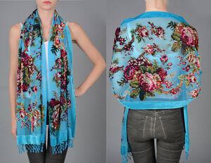 Pure Silk Devore Shawl - Turquoise