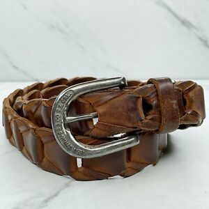 Levis Brown Vintage Woven Pieced Genuine Leather Belt Size 36