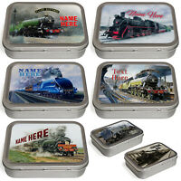 Personalised Train Tobacco Tin 2oz Baccy Fathers Day Cigarette Birthday Gift