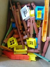 Over 250 Redish Lincoln Logs, plus Roofs, Windows, Doors and Flat Slats