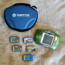 Leap Frog Leapster Handheld Learning Game System + 5 Games & Case  TESTED