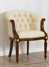 Fauteuil Isabelle style Baroque Anglais noyer et feuille or Simili cuir champagn