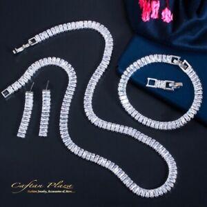 3 Tlg. Zirkonia AAA+ Schmuckset Halskette Ohrringe Armband Silber Weiss dezent
