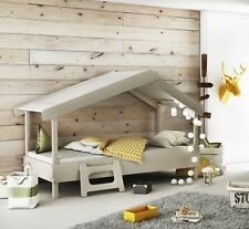 Junior Novelty Tree House Single Bed Frame Grey Beige Fun Unique Design